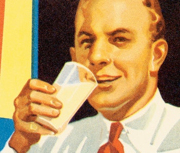 Man with glass of milk.