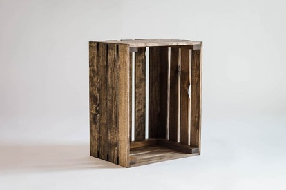 Medium Stained Rustic Wood Crate