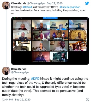 Tweet screenshot of council meeting with threaded tweet about police using facial recognition even with a no vote for funding