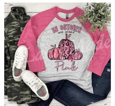 In October We Wear Pink Tee Shirt