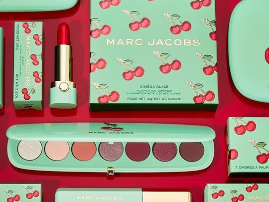 Lipstick, eyeshadow palette, and mascara from the limited-edition Marc Jacobs Beauty Very Merry Cherry collection.