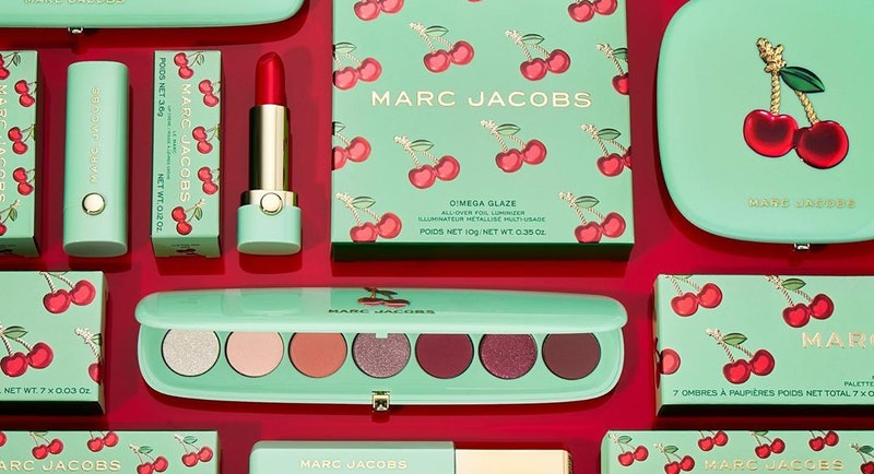 Lipstick, eyeshadow palette, and mascara from the limited-edition Marc Jacobs Beauty Very Merry Cher...