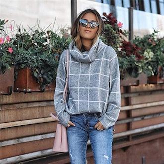 KIRUNDO Plaid Turtleneck Sweater