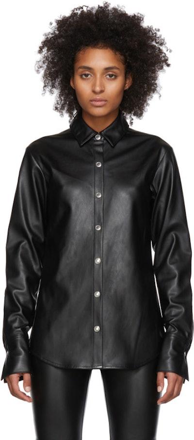 Black Faux-Leather Snap Shirt