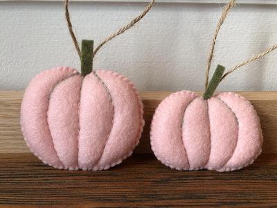 Set of 2 Pink Felt Pumpkin Ornaments