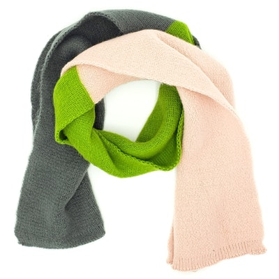 Kids Scarf In Pink/Green/Gray