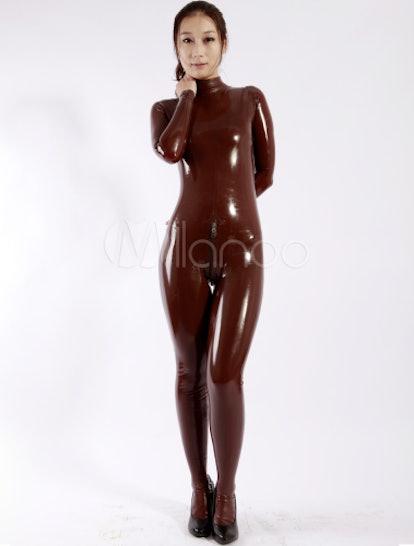 Halloween Sexy Latex Catsuit Coffee Brown Leotard Unisex Bodysuit Halloween