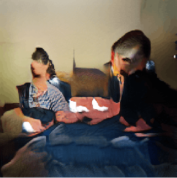 An AI-generated image of three people on a couch playing video games.