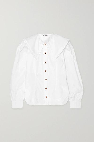 Ruffle-Trimmed Cotton-Poplin Blouse