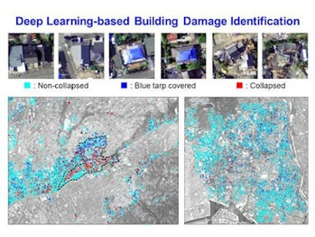 The distribution of damage estimated by the AI in two Japanese cities post-earthquakes