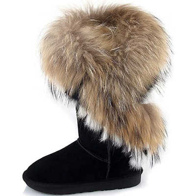 APHNUS Leather And Fur Snow Boots