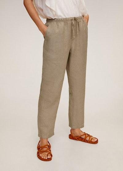 Straight linen-blend pants