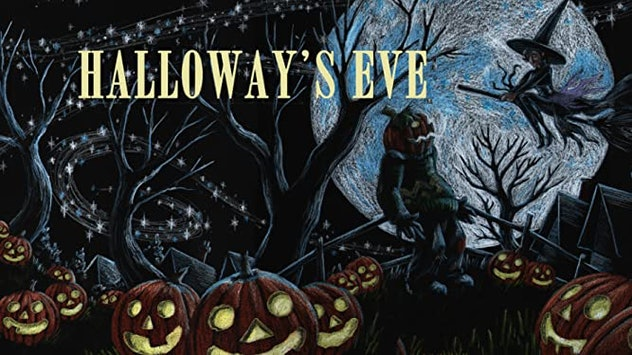 Cover art for 'Halloway's Eve' with a witch flying on a broom over a pumpkin patch