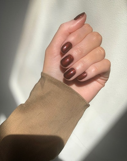 Westmoreland's favorite Rosewood nail polish is a gorgeous shimmery brown.
