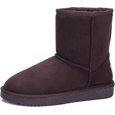 CAMEL CROWN Vegan Suede Faux Shearling Boots