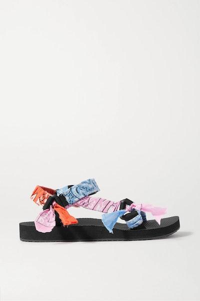Trekky printed gauze-trimmed canvas platform sandals