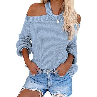 Lovezesent Cold Shoulder Halter Neck Backless Sweater