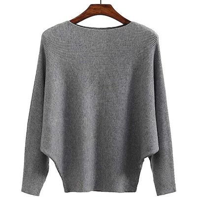 Ckikiou Batwing Ribbed Sweater