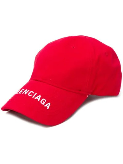Logo-embroidered Cotton-twill Baseball Cap In Red
