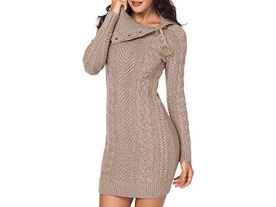 Sidefeel Asymmetric Buttoned Sweater Dress