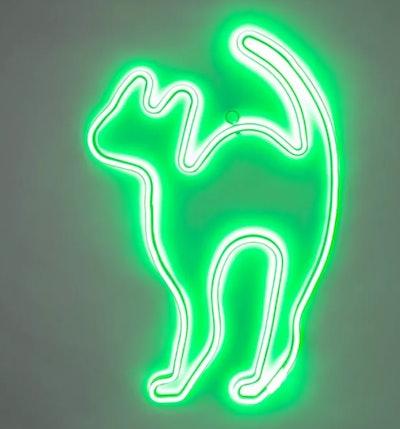 Green Flickering LED Neon Rope Cat Halloween Light Up Decor