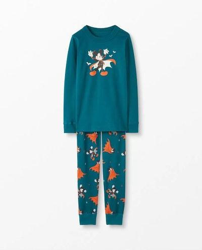 Disney Mickey Mouse Glow-In-The-Dark Long John Pajamas In Organic Cotton
