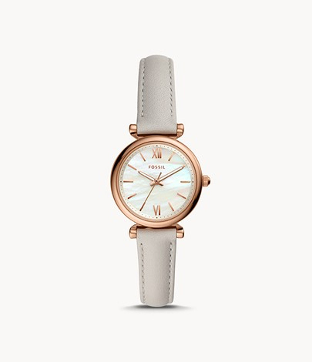 Fossil Carlie Mini Three-Hand Mineral Gray Leather Watch