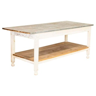 Antique White Painted Work Farm Table with Zinc Top