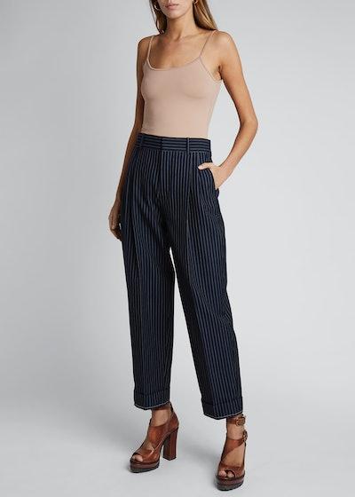 Pinstripe Wool High-Waist Cuff Pants