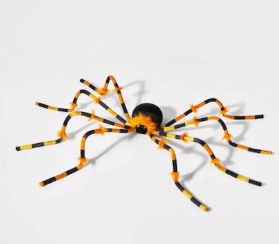 Large Plush Orange and Black Spider Halloween Decorative Prop