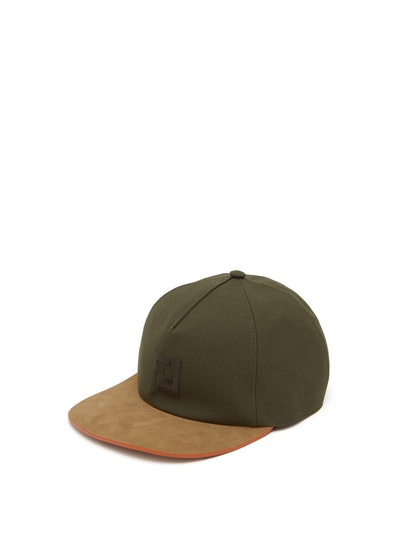 FF-embroidered suede and canvas baseball cap