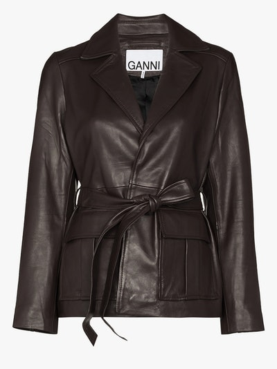 Wrap Leather Blazer