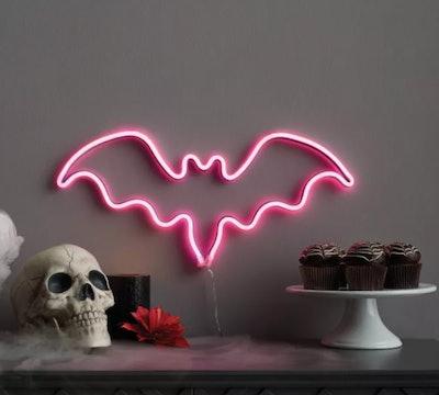 Purple Flickering Bat Faux Neon Rope LED Halloween Silhouette Light