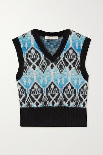 Cropped Jacquard-Knit Vest