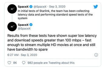 SpaceX's Starlink internet service has demonstrated download speeds greater than 100 Mbps.