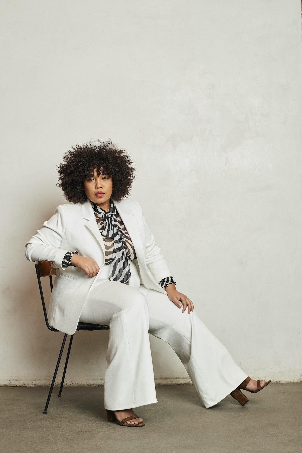Pari Passu Debi White Cotton Stretch Blazer