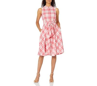 Calvin Klein Shirt Dress with Pleated Skirt