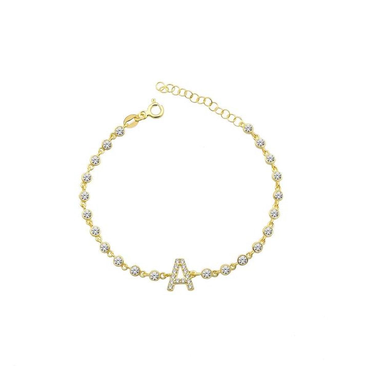 The Sis Kiss Crystal Single Letter Initial Bracelet