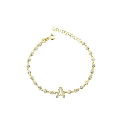 The Sis Kiss Crystal Single Letter Initial Bracelet