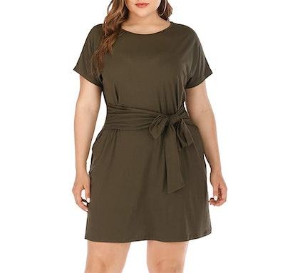 Agmibrelr Front Knot T-Shirt Dress