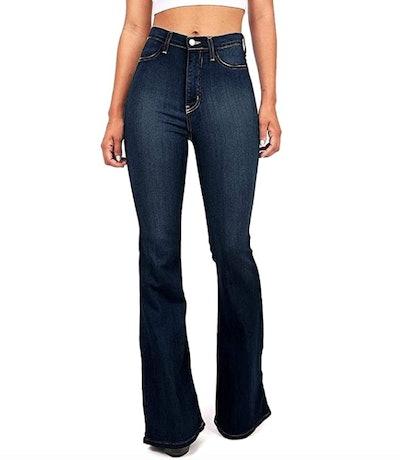 Vibrant Bell Bottom High Waist Fitted Denim Jeans