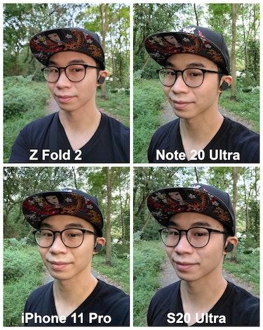 Galaxy Z Fold 2 selfie camera comparison