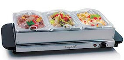 MegaChef Buffet Server & Food Warmer With 3 Removable Sectional Trays