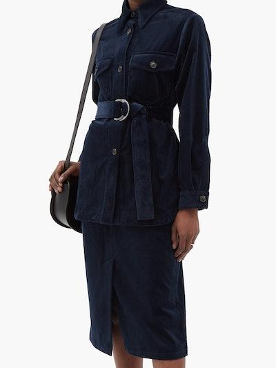 Belted Corduroy Shirt Jacket