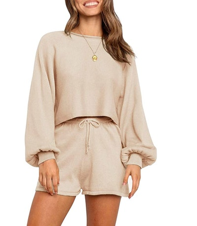 ZESICA Women's Casual Long Sleeve Knit Pullover and Short Sets