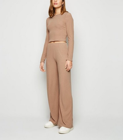 Camel Ribbed Crop Top and Trouser Set