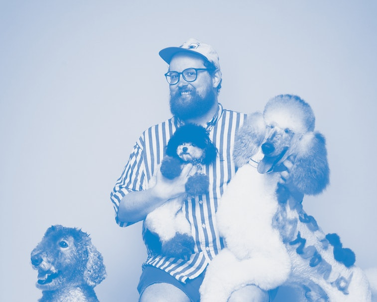 Musician Dan Deacon with dogs.