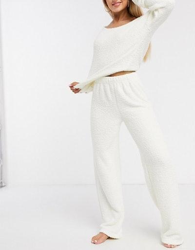 ASOS DESIGN mix & match lounge fluffy trouser in cream