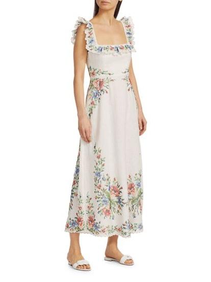 Juliette Pixel Floral Maxi A-Line Dress