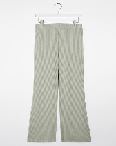 Sage Super Soft Ribbed Flared Trousers